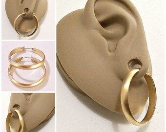 Monet Satin Matte Flat Band Hoops Pierced Post Earrings Gold Tone Vintage Large Open Wide Round Ring Dangles