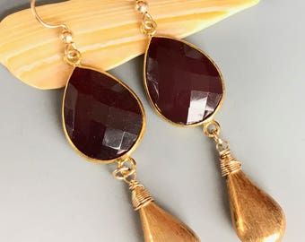 Garnet Quartz and Gold Earrings / Long Garnet and Gold Earrings / Boho Style Red and Gold Earrings