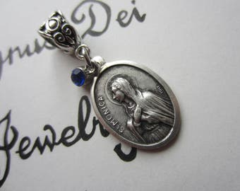 St Monica Medal & Blue Glass Charm Pendant, Patron Saint for Difficult Marriages, Alcoholics, Widow, Wives, Victim of Abuse