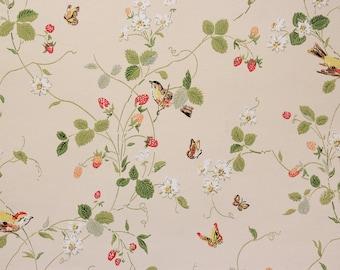 1970s Vintage Wallpaper Strawberry Vine Butterflies Birds on Cream Background