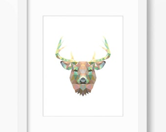 Deer Print, Bear Art, Deer Wall Art, Geometric Deer Print, Wall Print, Origami Deer Print, Deer Face, Geometric Deer Art, Triangle Deer Art