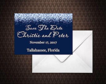 navy blue and silver glitter save the date card instant download save the date