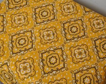 Fabric by the Yard, Bright Yellow Bandana Fabric, Blended Fabric, 1 Yard Fabric