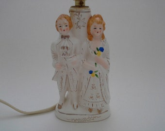 Dressing table lamp etsy vintage ceramic colonial couple figurine figure boudoir accent lamp made in japan dressing table lamp aloadofball Gallery