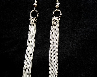 Silver chain tassle earrings, Long silver earrings, Silver chain earrings, Elegant silver earrings