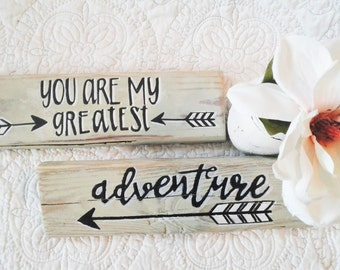You are my Greatest Adventure Wood Sign on Two Reclaimed Pallet boards/Choose colors for this fun Nursery Accent/Rustic, Shabby chic decor