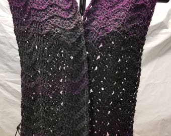 Purple and Charcoal Fancy Ripple Scarf, Ready to Ship, Quick Gift, Fast shipping