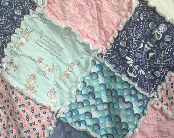 Rag Quilt- Mermaid Theme- Baby Rag Quilt- Crib Quilt- Baby Quilt- Crib Bedding- Nautical Theme- Sea Turtles