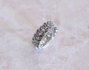 Silver Leaf Gemstone Ring