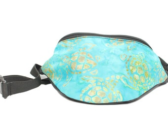 Batik Turtles Aqua Blue - Cute Fanny Pack - Hip Waist Bag for travel, sport, and hiking - 2 Zippers