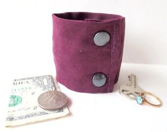 Wrist Wallet- Secret Stash  Money Cuff -Plum- NEW COLOR- hide your cash, coins, key, jewels, in a secret inside zipper...