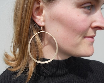 Double XL 14K gold Filled Hammered Hoops