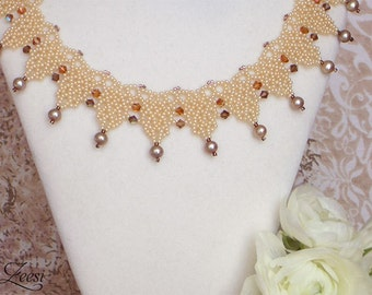 Desert Sandstone Pearl Necklace, Beaded Necklace, Pearl Collar Necklace