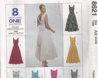 Sleeveless Dress  With Or Without Ties Princess Seams Front Neckline Variations Summer Sundress Sewing Pattern 1997 McCall's 8621
