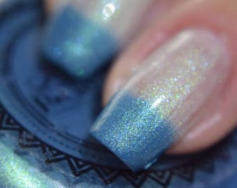 "P•O•P Polish ""Heart Of A Glacier"" Nail Polish Quick Dry Fire & Ice Thermal Collection Mother Of Pearl Blue Temperature Sensitive Shimmer"