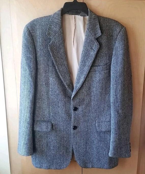 VINTAGE 1960's SEARS Harris Tweed Gray Herringbone Tweed Wool Sport Coat UKuJ0sDiMT