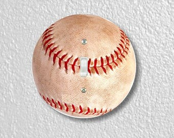 Baseball Ball Sport Round Single Toggle Switch Plate Cover