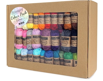 Scheepjes Catona Colour Pack -  Scheepjes Catona Set -  Mercerized cotton yarn - Scheepjes Catona all colors - Amigurumi yarn - Mandala Yarn