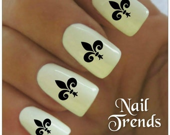 Fleur De Lys Nail Decal 20  Vinyl Adhesive Decals Nail Tattoos  Nail Art