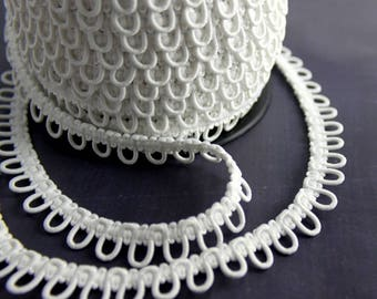 White Adjacent Elastic Bridal Button Looping Trim - Ready to use Wedding Button Holes
