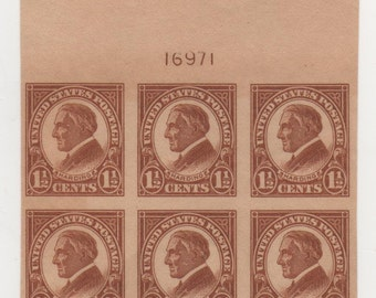 1 2 Cents 1925 Harding Imperforate Scotts 576 Postage Stamp Plate Block Of 6 Mint Never Hinged