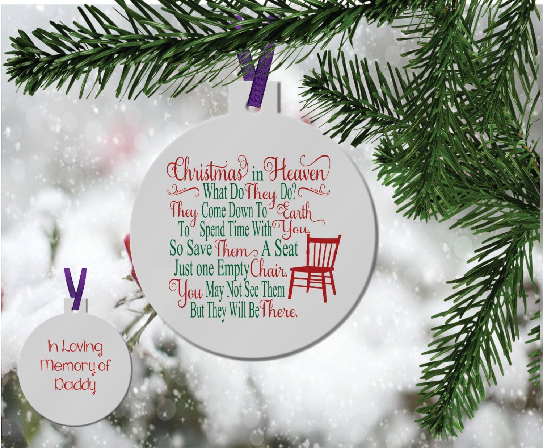 Personalized in Memory Ornament Christmas in Heaven Memorial