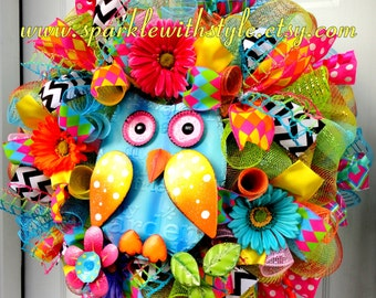 Large! Summer Owl Wreath - Deco Mesh Wreath -Spring Wreath - Summer Deco Mesh - Owl Wreath - Owl Decor - Spring and Summer Decoration