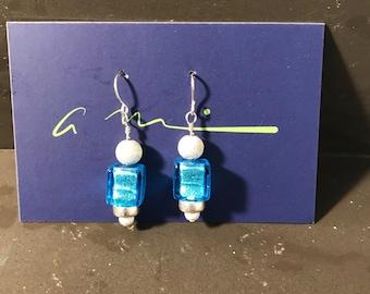 Venetian Glass and Sterling Earrings