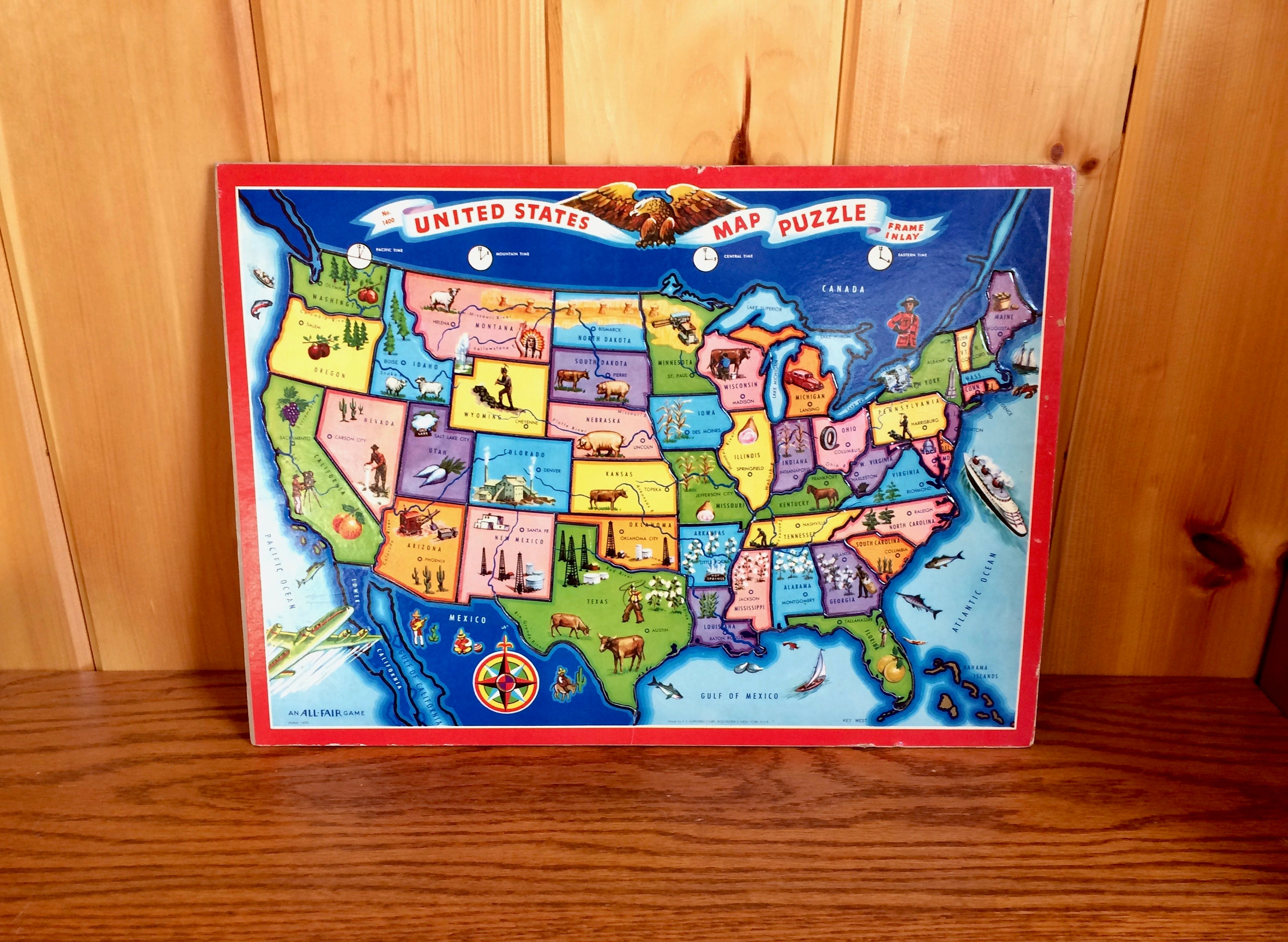 United States Map Puzzle EE Fairchild Corp All Fair Toys