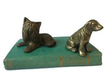 "Pair of Vintage Brass Dog Paperweight, Brass Scottie and Lab Dog Paperweight, Year of the Dog Brass Decor, 3"" Tall"