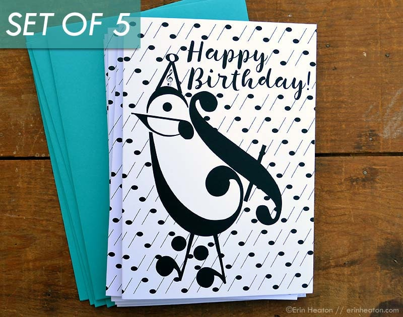 Music birthday card set of 5 party bird music note birthday zoom bookmarktalkfo Choice Image
