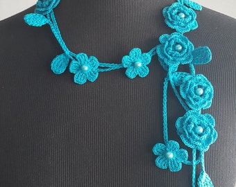 Crochet Rose Necklace,Crochet Neck Accessory, Flower Necklace, Aquamarine Color, 100% Cotton.