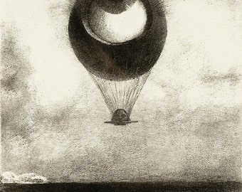 Odilon Redon: The Eye Like a Strange Balloon Mounts Toward Infinity. Fine Art Print/Poster (0063)