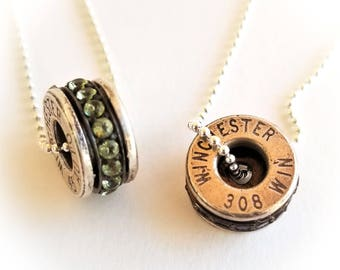 Sterling Silver 308 Winchester Bullet Necklace, Peridot Bullet Necklace, Bullet Jewelry, Gun Jewelry