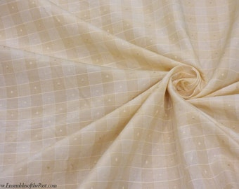 """Faux Silk - Small Checked Fabric - Ivory and White Jacquard - Lightweight Rayon fabric - by the yard - 50"""" wide, EP Rayon #83"""