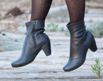 Black Leather Boots, Ankle Boots, Leather Booties, Black Boots, Winter Shoes, Black Shoes , Free Shipping