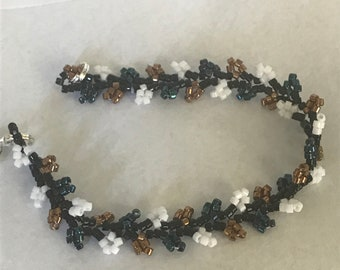 Vine Metalic Blue, Bronze, and White Bracelet