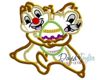 Easter Chip and Dale - 4x4, 5x7 and 6x10 in 7 formats - Applique - Instant Download - David Taylor Digitizing