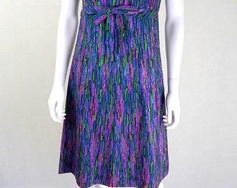Original Original Vintage 1950s Watercolour Ribbon Dress UK Size 10/12