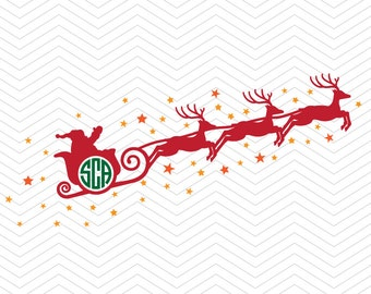 Santa Sleigh Christmas Monogram DXF SVG PNG Snowman anlter sleigh deer winter, Silhouette studio,  Cricut Design, Sure Cuts, Makes the Cut