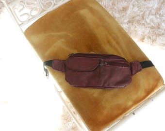 pomegranate leather fanny pack