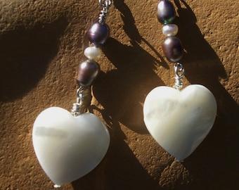 Heart Earrings, Heart Shells, freshwater Pearls - Love