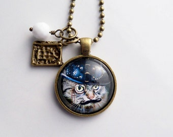 Steampunk Cat Necklace - Cat Pendant -  Victorian Cat Jewelry - Custom Jewelry - Art Jewelry - Cat With Moustache Animal Pet Jewelry Monocle