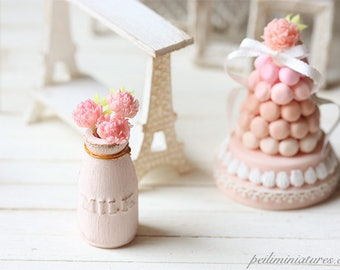 Dollhouse Miniature Milk Vase with Peonies 1/12 Scale