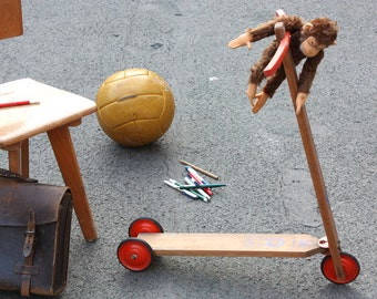 Old wooden scooter / toy vintage / nostalgic prop / Germany 50s 60s / Mid-Century / Hausser
