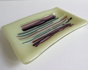 Fused Glass Small Dish in Green Pink and White by BPRDesigns