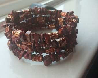 Red Jasper Bead Chip Wrap Bracelet