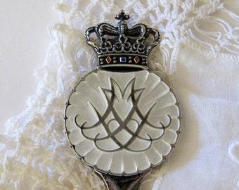 Mariage royal cuillère Souvenir, Danemark Couronne, argent avec émail blanc, EJ Michelsen Jensen Vintage 1967, Designer, Colletible