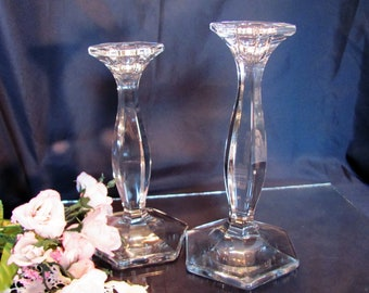 Bougeoirs en cristal Heisey vers 1910 par un H Heisey patricienne (ligne #5) EAPG verre bougeoirs Made in USA