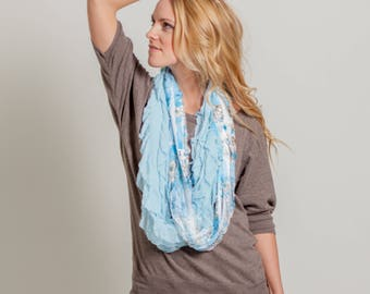 Blue Floral Infinity Ruffle Scarf